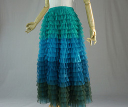 Multi-Color Tiered Tulle Skirt A-line Layered Tulle Midi Skirt Party Outfit image 6