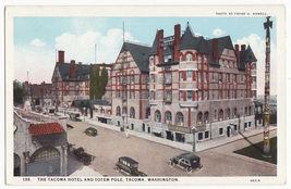 Tacoma Washington, Tacoma Hotel and Totem Pole c1920s vintage postcard WA - $3.45