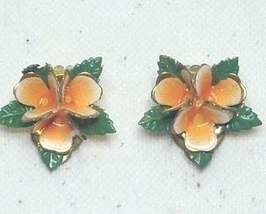 Vintage Orange Enamel Floral Clip On Earrings Austria - $6.99