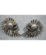 Vintage EmJ (Emmons) Earrings Clip Back Gold Tone w/Faux Pearl Spiral Su... - $22.00
