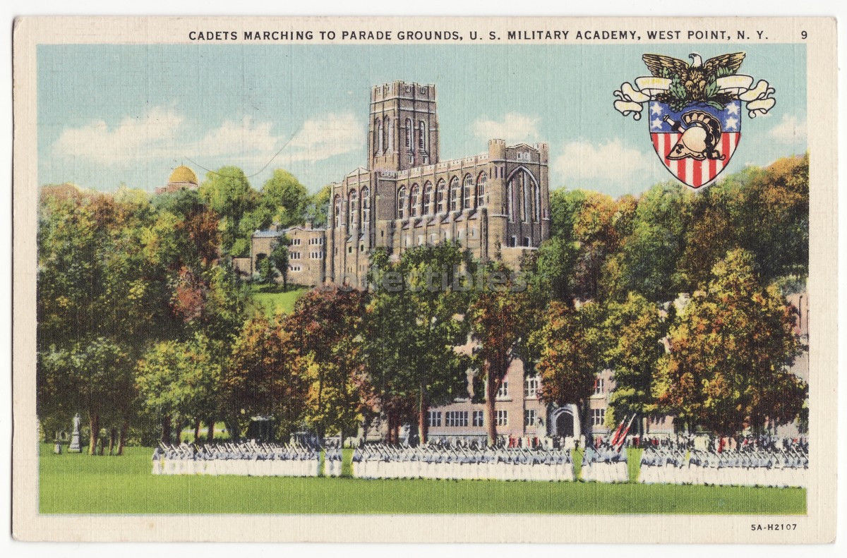 WEST POINT MILITARY ACADEMY NY, Cadets Marching to Parade Grounds c1939 postcard - $3.22