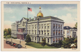 TRENTON NJ~PARKED CARS outside STATE CAPITOL c1940s vintage NEW JERSEY p... - $3.22