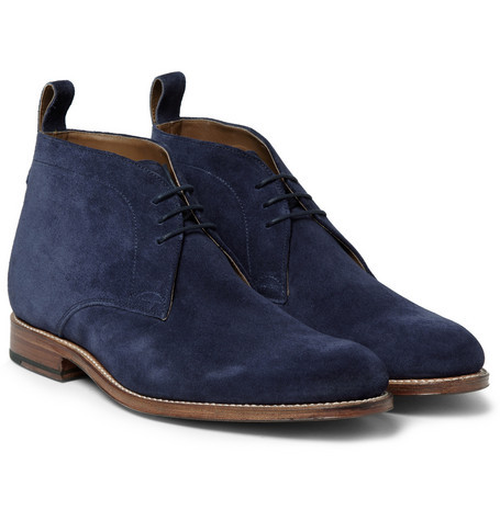 handmade navy blue chukka real suede leather boot