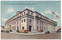 MIAMI FL ~ US POST OFFICE AND FEDERAL BUILDING 1940s postcard - $4.14