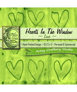 Hand-Painted Paper 1 Digital Design 8 1/2 x 11 Lime Green Hearts In The ... - $1.95