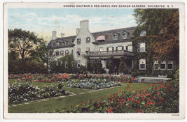 Rochester NY, George Eastman Residence and Sunken Gardens c1928 postcard - $3.63