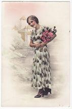 BEAUTIFUL WOMAN WITH PRINT DRESS ~ 1930s Fashion ~ real photo postcard RPPC - $6.90