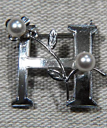 Vintage Sterling Silver Pearl H Brooch Monogram Initial Japan Mikimoto S... - $35.00