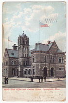 SPRINGFIELD MA ~ POST OFFICE AND CUSTOM HOUSE 1900s UDB postcard - $4.55