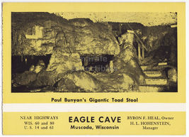 Muscoda Wi ~ Eagle Cave Paul Bunyan's Toad Stool C1960s Souvenir Postcard - $4.55