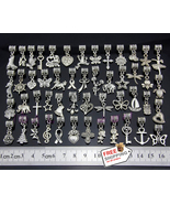 50 pcs Vintage Silver Tone Dangle Charms DIY Mix Butterfly Heart Horse C... - $42.99