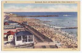Coney Island New York City, Boardwalk, Beach And Steamboat Pier C1939 Postcard - $4.55