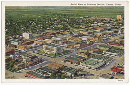 Vernon Tx, Business Section Aerial View C1940s Texas Postcard - $6.39