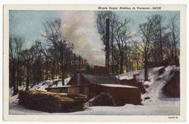 Maple Sugar Making in Vermont VT 1930s vintage postcard - $4.55