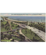 CHICAGO IL ~ LINKOLN PARK & NORTH AVENUE DRIVES JUNCTION c1950s postcard - $4.55