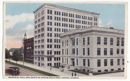 TOPEKA KS, Memorial Hall and Santa Fe Office Buildings 1919 Kansas postcard - $4.55