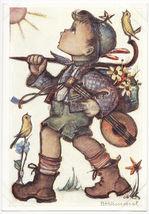 Singing Child Boy ~ Birds ~ Mandolin ~ Hummel No 14383 Artist Signed Postcard - $4.14