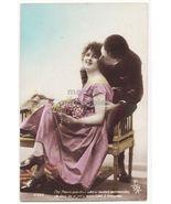 BEAUTIFUL COUPLE KISS vintage photo romantic postcard c1910s - $4.95
