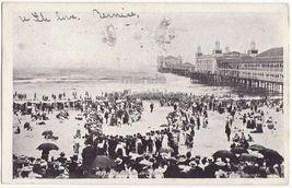 ATLANTIC CITY NJ, BEACH CROWD WATCHING A RESCUE - 1900s postcard - $9.15