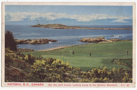 Victoria BC Canada, Oak Bay Golf Course, Olympic Mountains c1940s postcard - $4.55