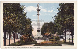 BALTIMORE MD, NORTH BROADWAY  & WILDEY MONUMENT c1920s postcard - $3.63