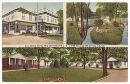 BEL AIR Maryland, Del Haven Roadside Hotel & Cottages on US 1 c1940s pos... - $3.63