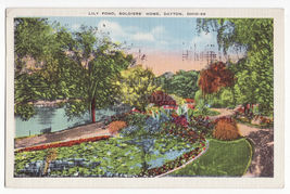 DAYTON OH ~ LILY POND, NATIONAL SOLDIERS HOME  1930s vintage Ohio postcard - $3.22