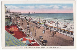 ATLANTIC CITY NJ ~ SUN DECK OF MARLBOROUGH-BLENHEIM HOTEL c1930-40s post... - $3.22