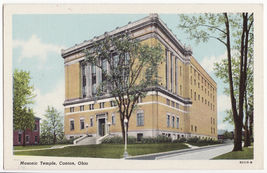 CANTON OHIO,  MASONIC TEMPLE BUILDING c1940-50s vintage postcard - $3.63