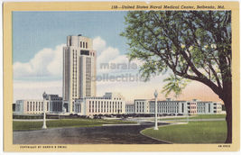BETHESDA MD ~ UNITED STATES NAVAL MEDICAL CENTER BUILDINGS c1940s postcard - $2.71