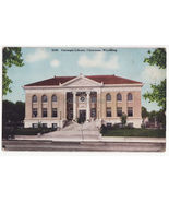 CHEYENNE WY ~ CARNEGIE LIBRARY BUILDING FRONT VIEW~ c1910s Wyoming postcard - $4.14