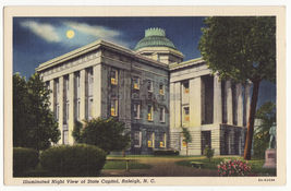 Raleigh Nc ~ State Capitol Illuminated Night View~C1940s Old Postcard - $3.22