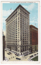PITTSBURGH PA ~ FRICK AND CARNEGIE BUILDINGS - STREET VIEW  - c1929 post... - $3.63