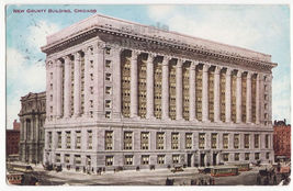 Chicago IL ~ New County Building - Early Street VIew 1900s vinatge postcard - $3.45