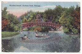 CHICAGO IL ~ BOATING AT WOODED ISLAND, JACKSON PARK ~ 1910s postcard - $3.63