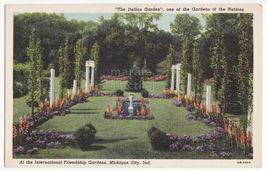Michigan City Indiana ~ Italian International Friendship Gardens C1940s Postcard - $3.63