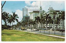 Miami Florida, Biscayne Boulevard, Hotels and Bayfront Park view postcar... - $3.22