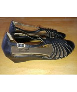 SOFT STYLE/HUSH PUPPIES LADIES BLACK STRAPPY WEDGE SANDALS-10W-WORN ONCE... - $9.79