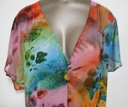 Mango Tango V Neck Sheer Floral Short Sleeve Top Size XS - $11.72