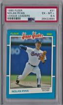 1990 Fleer League Leaders Nolan Ryan #31 PSA 6.5 P553 Look Much Better! - $4.65