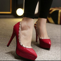 pp007 sexy candy color pumps, 12.5 cm heels size 34-39, red - $48.80