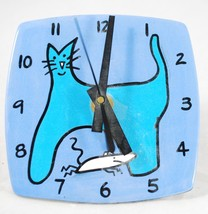 Cat & Mouse - Clock Wall or Shelf Desk Table - Glazed Pottery - One of a... - $24.74