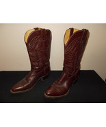 MADE USA Leather Dark Brown Espresso Western Cowboy Boots Mens 9.5D sku4 - $93.14