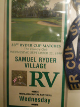 RARE- HISTORIC 1999 Ryder Cup  Unused Ticket  Badge w/ lanyard -Justin L... - $121.37