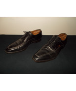 Santoni Caoutchouc Made Italy Leather Dress Black Oxfords Shoes Mens 10.... - $121.19