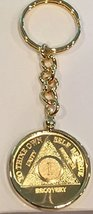 1 Year 24k Gold Plated AA Medallion In Keychain Removable Sobriety Chip Holder - $26.99