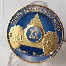 Blue Silver Plated 20 Year AA Alcoholics Anonymous Medallion Sobriety Chip Re... - $18.49