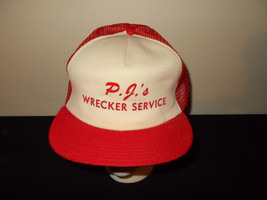 VTG-1980s PJs Wrecker Service MADE USA trucker mesh snapback retro hat s... - $27.83