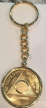 Plain Face 24k Gold Plated AA Medallion In Keychain Removable Sobriety Chip H... - $26.99