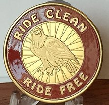 Ride Clean Ride Free Sobriety Medallion Chip Red & Gold Plated Token - $17.99